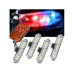 LED Red Blue Police Flashing Light With Remote Controller for All Cars
