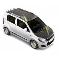 Sqaure Play Grey Maruti WagonR Car Bonnet Wrap - Roof Wrap Combo